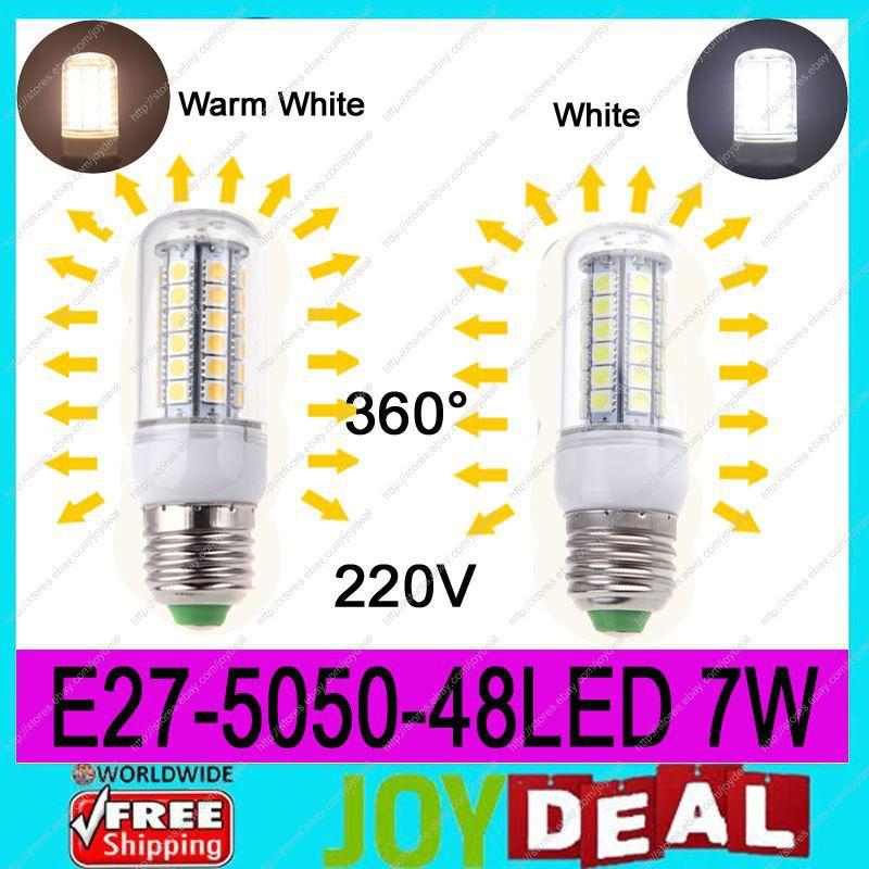 AC220V-240V E27 5050SMD 48LEDs 7W High Quality Bright Corn LED Bulb Wall Lamps Ceiling light White 6500K or Warm White 3200K<br><br>Aliexpress