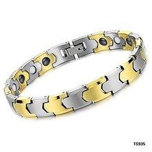Free shipping Germanium Carbide Golden color Tungsten Bracelet Health magnetic bracelet bracelet 935(China (Mainland))