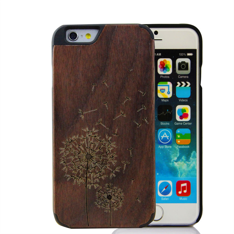Natural Wood Back Cover Carvings For iPhone 6 Case Wood With Hard Black PC Phone Cover for iPhone 6 4.7 Inch(China (Mainland))