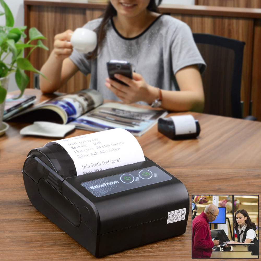 YOKO 58HB-2 Portable Bluetooth Wireless Receipt Thermal Printer for Android (58mm Paper Width) - Black(EU Plug)(China (Mainland))