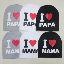 2017 Fashion Summer Baby Hats Knitted Cap Warm Cotton Toddler Baby Girl Boy I LOVE PAPA MAMA Print Kid Newborn Cap 1-3 Years Old(China (Mainland))