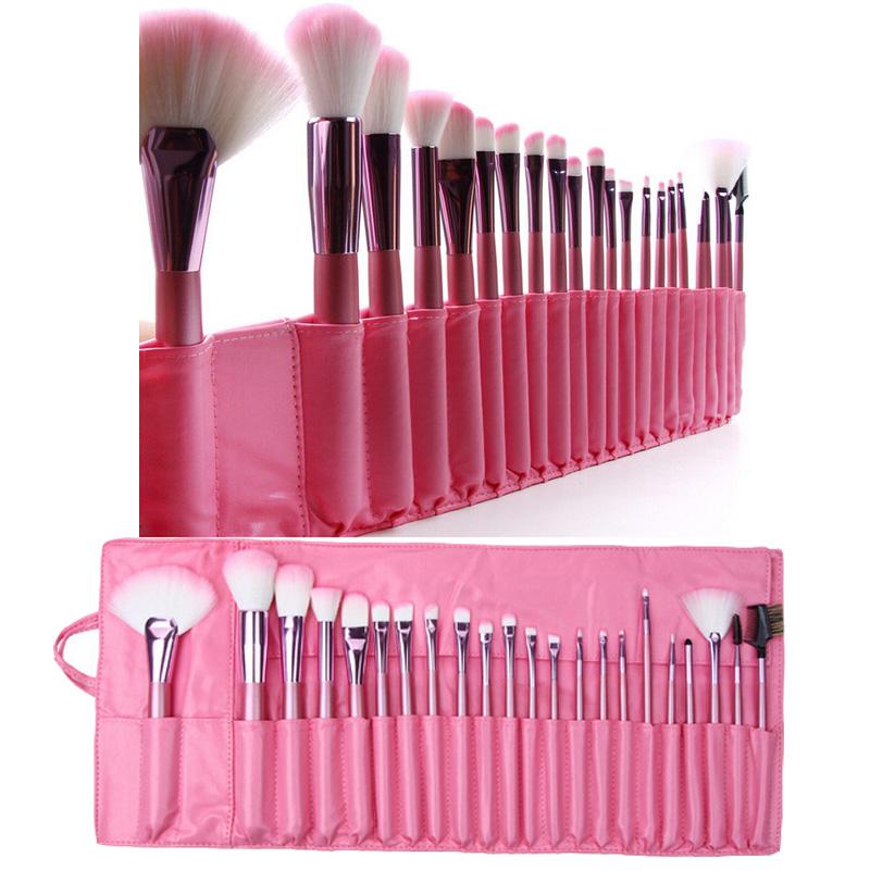 22Pcs Pink Handle Makeup Brushes Set Blending Brushes PU Leather Case Foundation Powder Eye Shadow Eyebrow Blush Makeup Brushes(China (Mainland))
