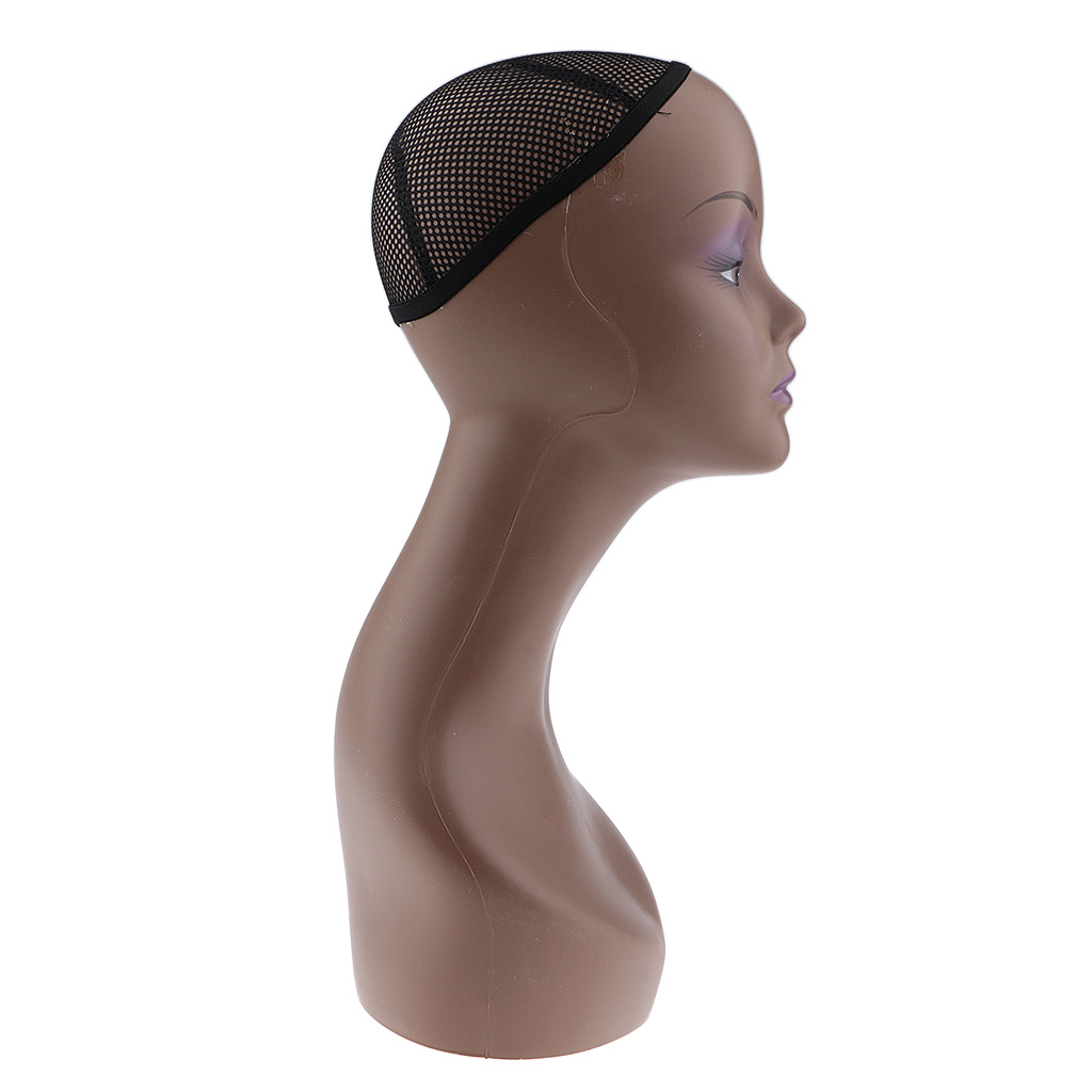 Female Mannequin Manikin Head Model Wig Cap Jewelry Hat Display Holder Stand Coffee Color Wig Stand Training Head