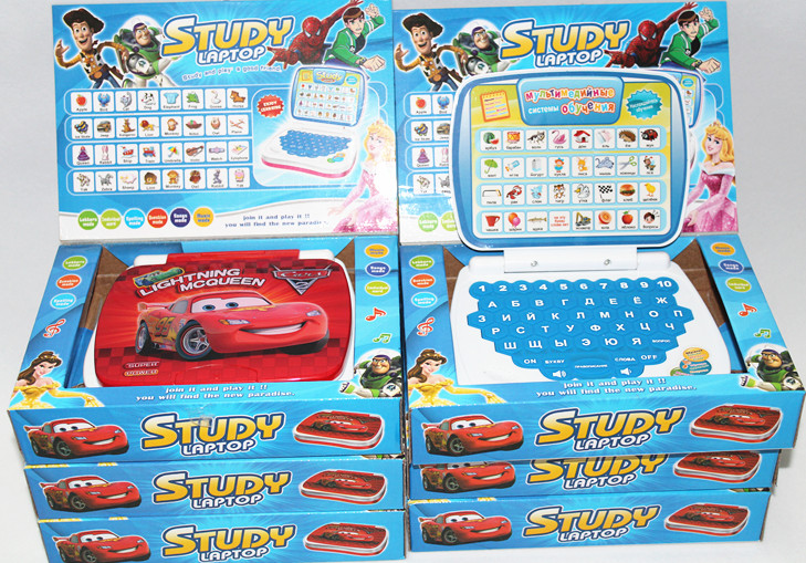 Russian mini learning machine study laptop for kid children teaching toys Education computer(China (Mainland))