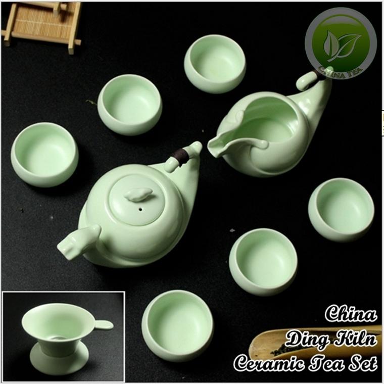 9pcs Rare Chinese Song Ding Yao Porcelain Teaset China Ding Kiln Sky Cyan Teapot Justice Cup