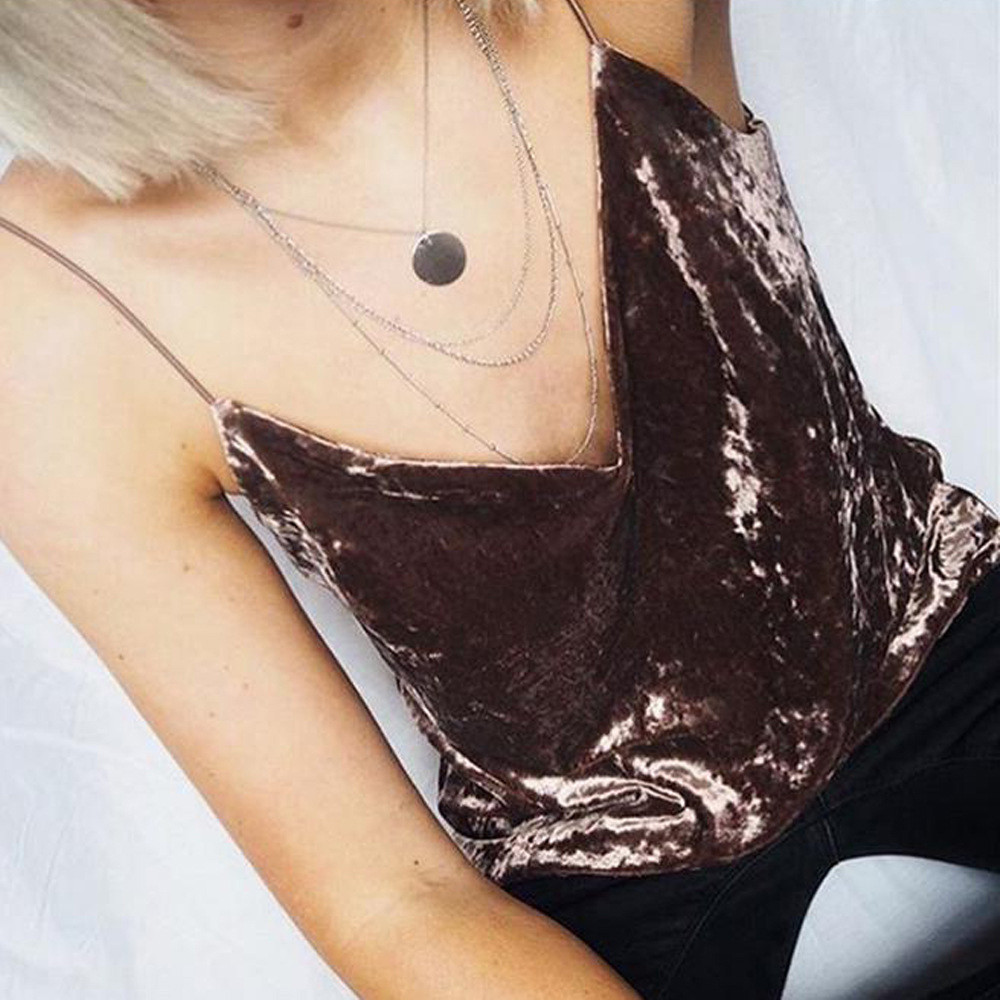 Cool Sexy velvet crop top Women Pink Brown club Party Spaghetti Strap Cropped Camisole Tank Top Girls blusa #517(China (Mainland))