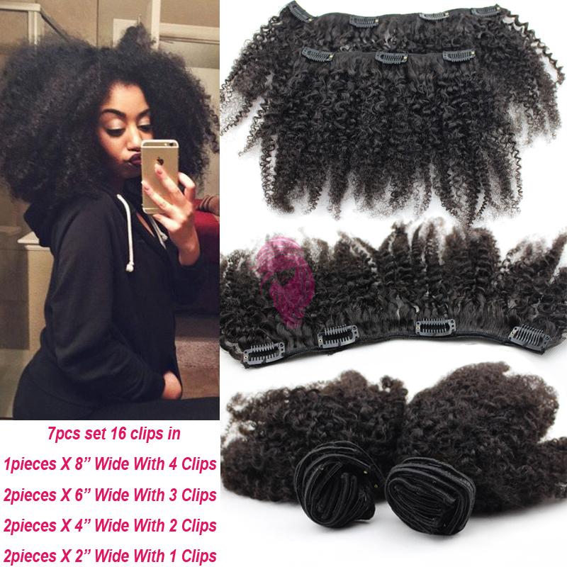 Afro Kinky Clip In Hair Extensions Brazilian Hair Extensions Afro Kinky Curly Clips In Unprocessed Virgin Human Hair Free Ship(China (Mainland))