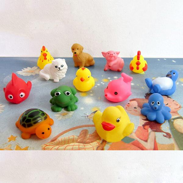 13Pcs Bath Toys in the Barthroom Kids Water Toys Soft Rubber Toys for Boys Girls Rubber Duck Animal(China (Mainland))