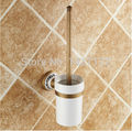 Classical Bathroom Wall Mounted Antique Brass Toliet Brushed Holder Ceramic Cup Holder