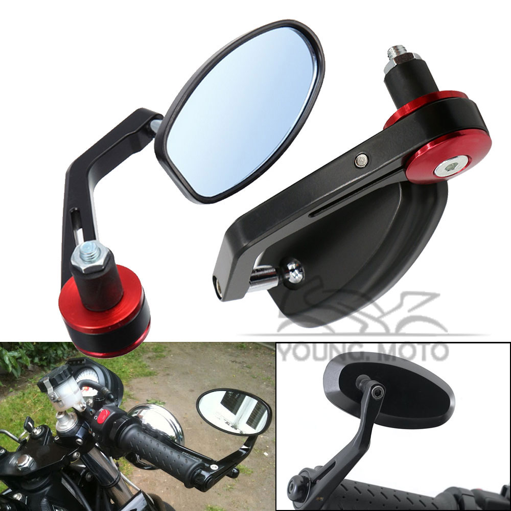 "7/8"" 22mm Universal Black Motorcycle Handlebar Bar End Mirror Side Rear View Mirrors Red Grips for Yamaha Honda Triumph Ducati(China (Mainland))"