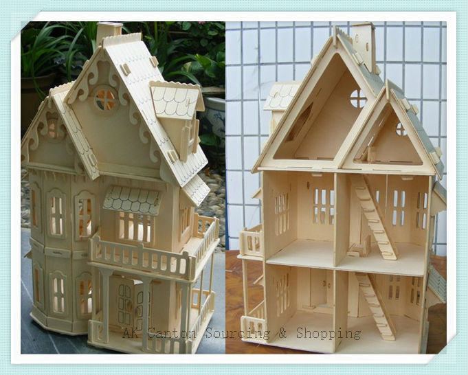 item Educational D Wooden Jigsaw Puzzles Model DIY Rural Gothic House Construction Toy Miniature Doll For