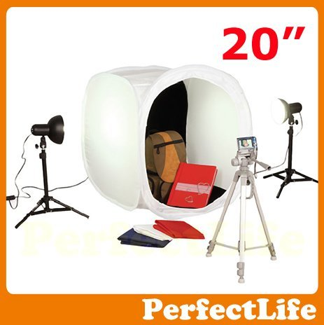 "20"" 50cm Photo Studio Light Tent Box Kit, 2 light stands,1 Tripod A042AZ004"