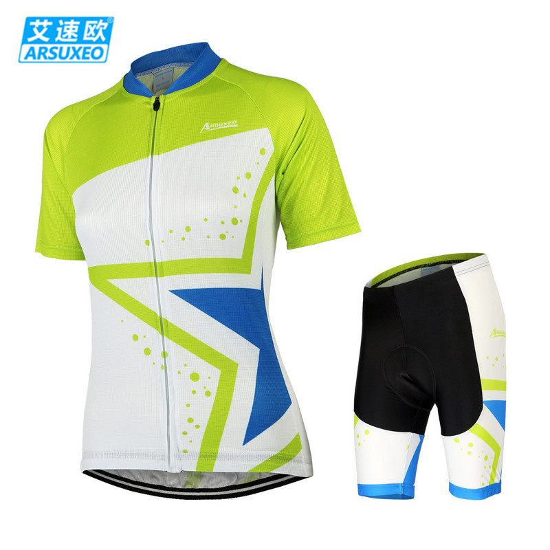 ARSUXEO Bike Bicycle Cycling Clothing Set Short Sleeve Jersey + 3D Coolmax Padded Shorts Women Breathable Quick Dry Sportswear