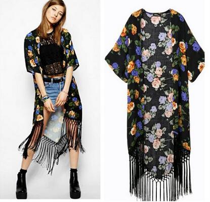 2015 Fashion Ladies' floral Pattern tassel Cape loose short sleeve Outwear casual Tops elegant Cape Lady kimono coat A059(China (Mainland))