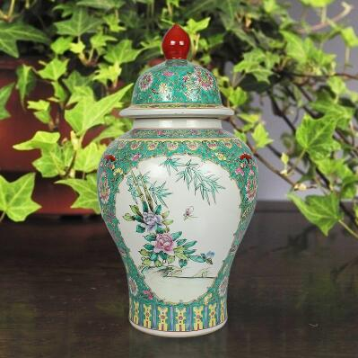 Chinese Antique Porcelain Vase Large Ceramic General Jar White Blue Green Brown Ceramic Flower Vases Art collection(China (Mainland))