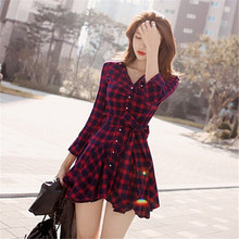 Hot Sale 2016 New Fashion Women Lapel Long Sleeve Tartan Plaids Checks Mini Dress Casual Shirt Dresses Evening Party Gown