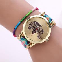 2015 Hot  Women Elephant Pattern Weaved Rope Band Bracelet Quartz Dial Wrist Watch