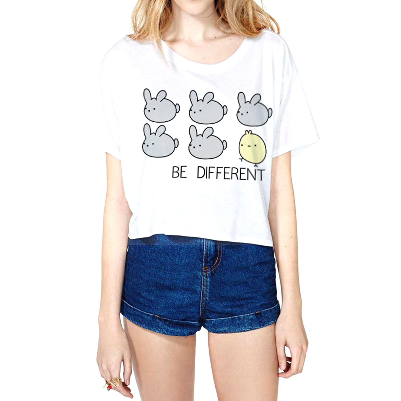2016 New Fasion Summer Style Be Different Letter Loose Cotton Short Sleeves White Tops Free Casual T-Shirt For Women(China (Mainland))