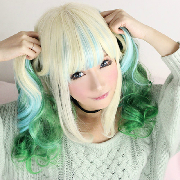Гаджет  Free Shipping 65cm beige + blue + green 3 colors mix wave long curly hair wig+wig cap None Волосы и аксессуары