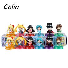 6pcs/set Anime Sailor Moon Figures Tsukino Usagi Sailor Mars Mercury Jupiter Venus Saturn Figure Toys PVC Doll With Box WJ030(China (Mainland))