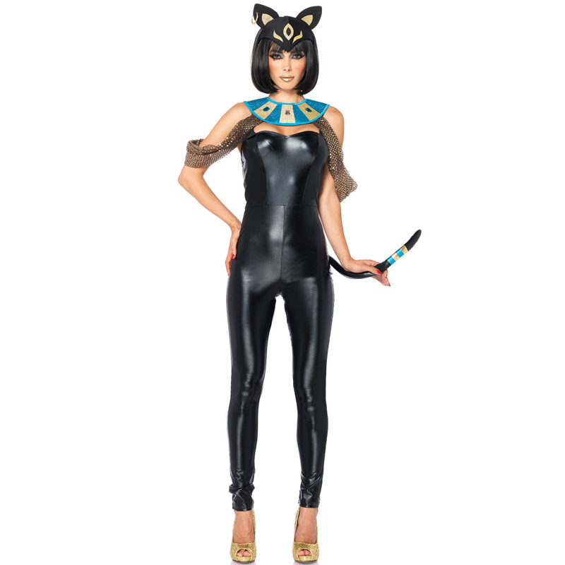 Adult Women Sexy Egyptain Cat Halloween Animal Catsuit Carnival Fantasia Cosplay Costumes(China (Mainland))