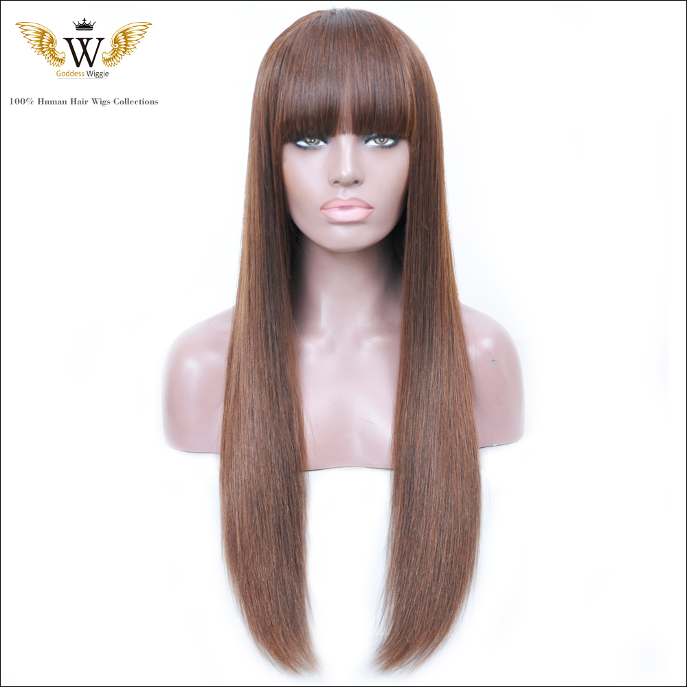 180 Density Brazilian Human Hair Straight Ombre Full Lace Wigs With Bangs Glueless Lace Front  Human Hair Wigs For Black Women