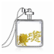 Handmade DIY Necklace For Women Transparent Square Glass Frame Unique Yellow Dried Flowers Pendant Necklace Small Fresh(China (Mainland))