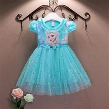 Party Girl Lace Dress 2017 Summer Anna Elsa Dress For Girls Kids Princess Dress Baby Girls Costume For Children Clothing(China (Mainland))