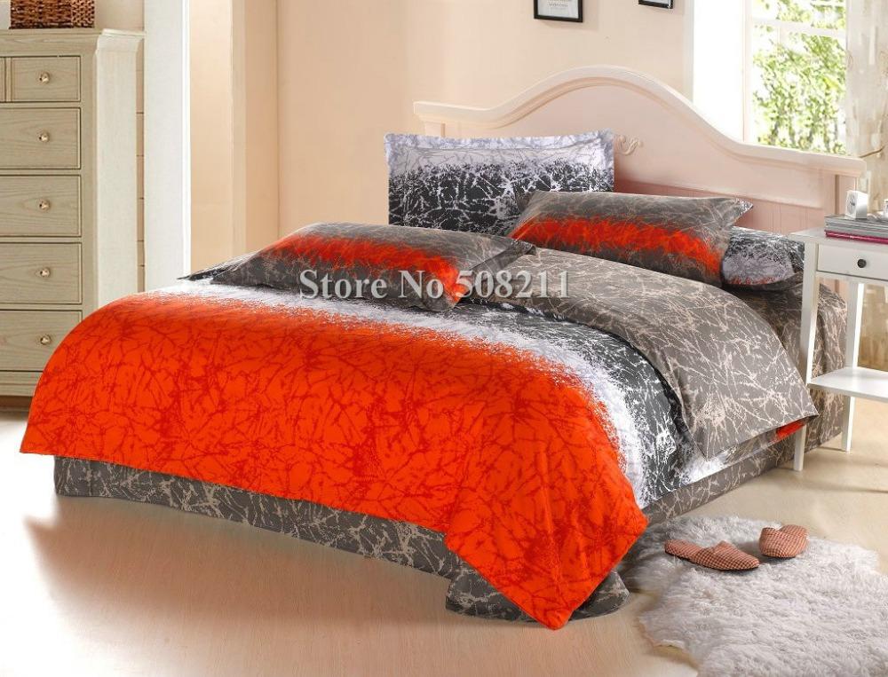 Wholesale bedding sets cotton quilt duvet covers 4pcs full - Red and orange comforter sets ...