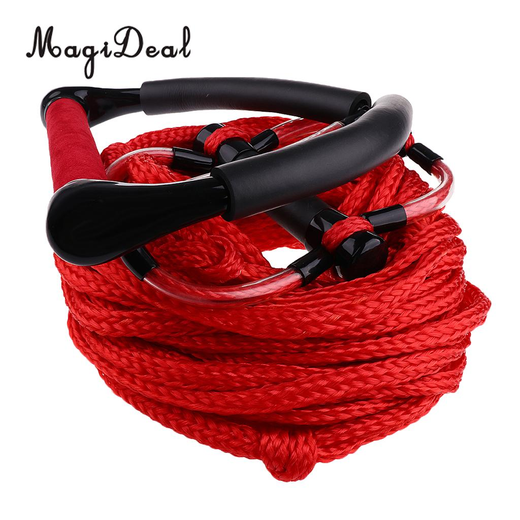 Double Handle Water Skiing Wakeboard Tow Harness Rope 1 Section 75' Feet Red/Orange for Surfing Boating Sailing Accessories