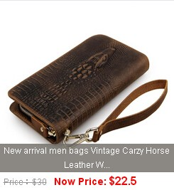 New arrival men wallets 100% Crazy Horse Leather Zipper Around Wallet Card Holder Dark Brown freeshipping