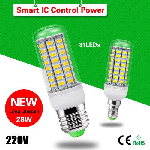 1 x 2015 Newest Long lifespan Intelligent IC Control E27 E14 28W LED Corn light 220V 81 LEDs lamp 5730SMD Bulb For Home lighting(China (Mainland))