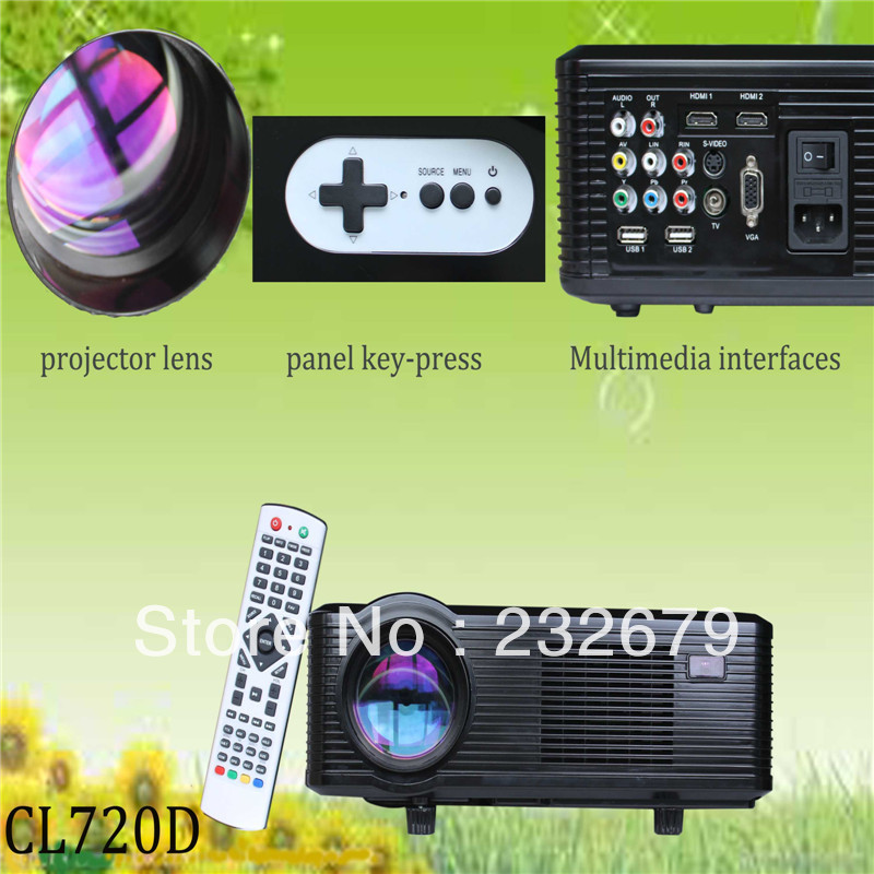 Mini Projector, Portable White LED Digital Proyector, LCD Home Theater Beamer AV USB HDMI Interfaces(China (Mainland))