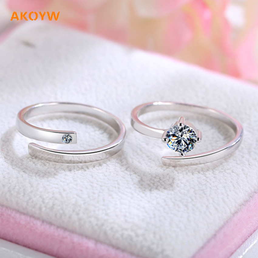 Couple rings silver plating crystal fashion wedding gift tokens private final high quality jewelry couple rings opening(China (Mainland))