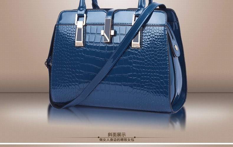 Luxury Elegant PU Hand Bag Women Stylish Crocodile Print Faux Leather Handbag Occident Style Lady Fashion Shoulder Bag Crossbody