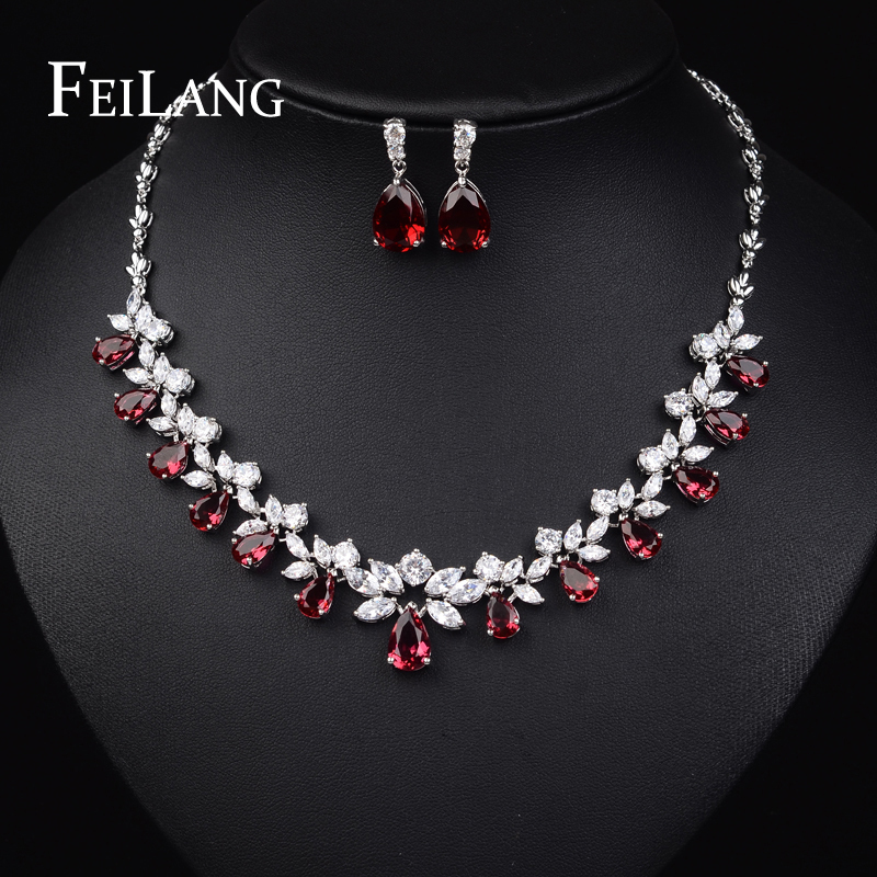 FEILANG Top Quality Cubic Zirconia Diamond Platinum Plated Sparkling Ruby Jewelry Sets For Wedding (FSSP170)(China (Mainland))