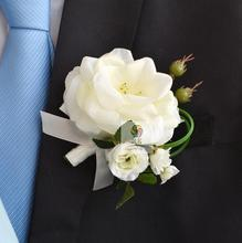 Hand Made Corsage Groom groomsman silk rose flowers Wedding Man Boutonniere and Women wrist corsage set