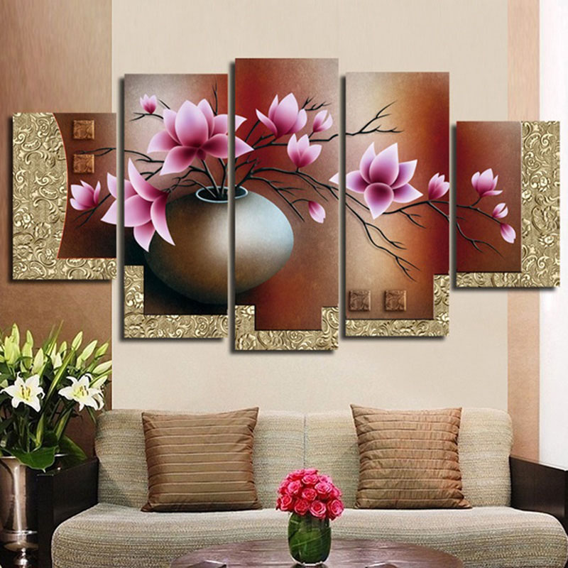 hand-painted oil wall art Purple flowers water side home decoration abstract Landscape oil painting on canvas FL5-093(China (Mainland))