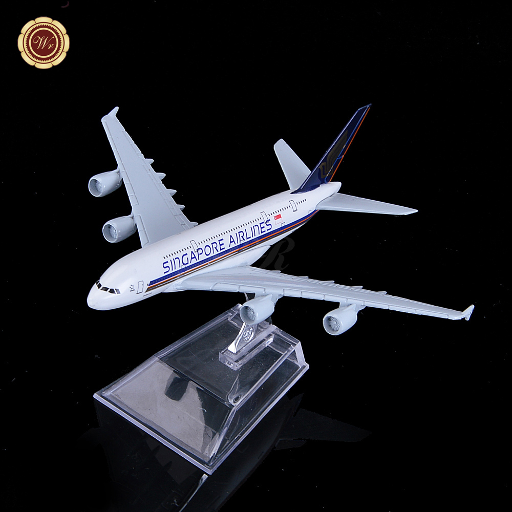 16cm Alloy Metal Air Singapore Airlines Airbus A380 9V-SKA Airways Airplane Model Plane Model W Stand Aircraft Toy Gift(China (Mainland))