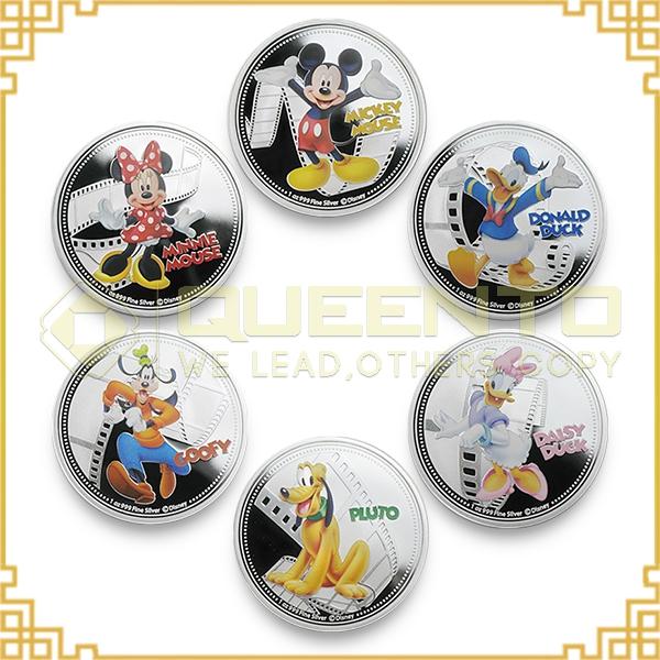 6 pcs full set Mini Mickey Mouse Daisy Donald Duck Goofy Pluto Hollywood cartoon silver plated mickey & friends coin set(China (Mainland))