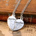 2PC Silver Plated Mother Daughter Necklace Silver Heart Love Mom Necklaces Pendants For Women Jewelry Collier