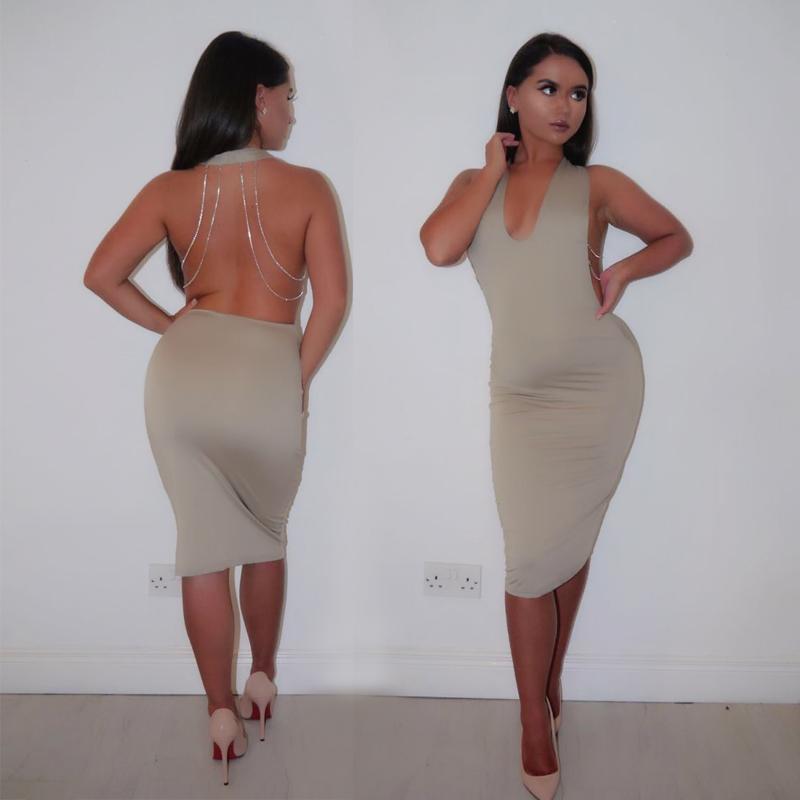 fashion Metal chain Summer dress 2016 Bodycon sexy v-neck backless Bandage Halter vestidos Women Dresses Dropshipping tops(China (Mainland))