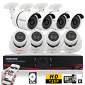 SUNCHAN New 8CH AHD DVR Kit 720P NVR Night Vision CCTV 1 0MP Waterproof 1200TVL Home