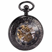 Steampunk Skeleton Male Clock Transparent Mechanical Copper Open Face Retro Ver Vintage Pendant Pocket Watch Gift / WPK164(China (Mainland))