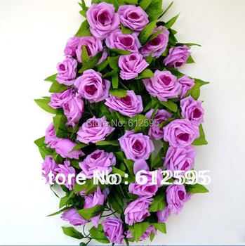 Brand new 4 pcs / lot 240cm artificial silk rose  wedding vine plant 9 roses 7 colors--white/red/pink/champagne/purple....