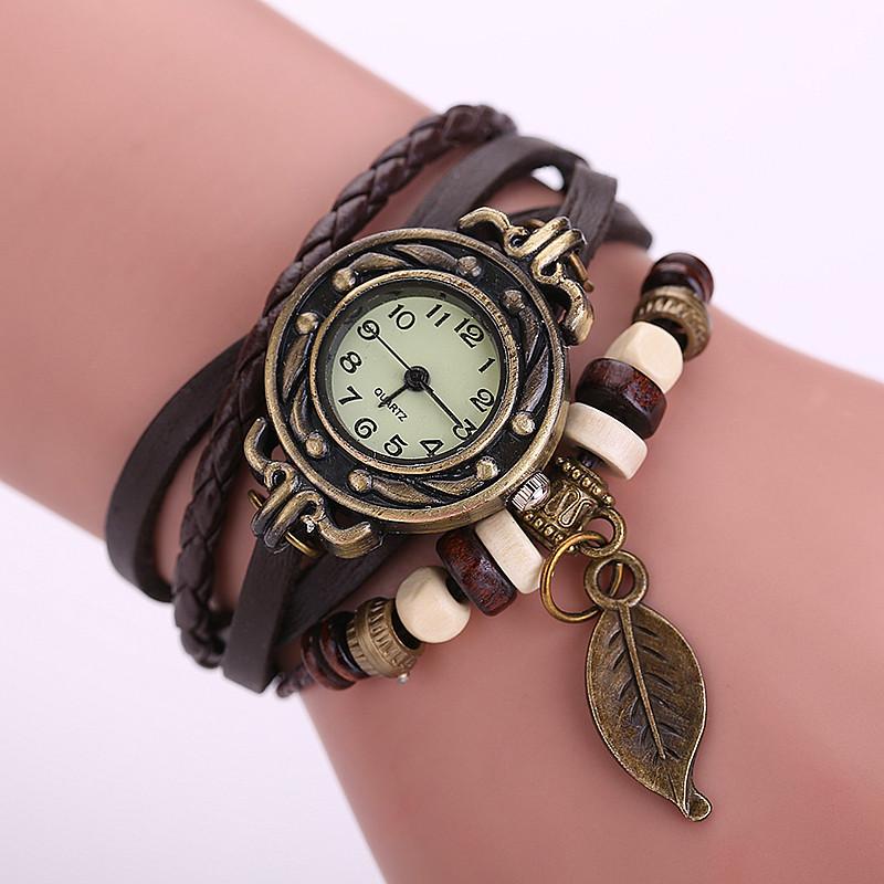 6 colors vintage bracelet watch leaf pendant Genuine cow leather quartz wristwatches 1pcs/lot<br><br>Aliexpress
