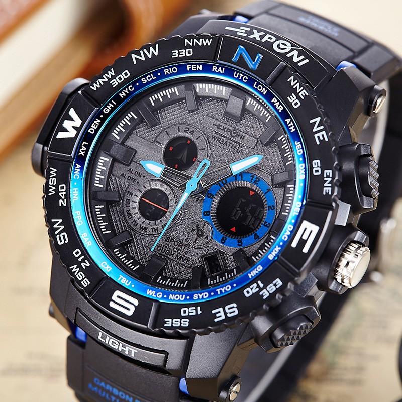 2016 новый дизайн мужчины смотреть многофункциональный электронный будильник световой водонепроницаемый спортивные часы большой циферблат часов