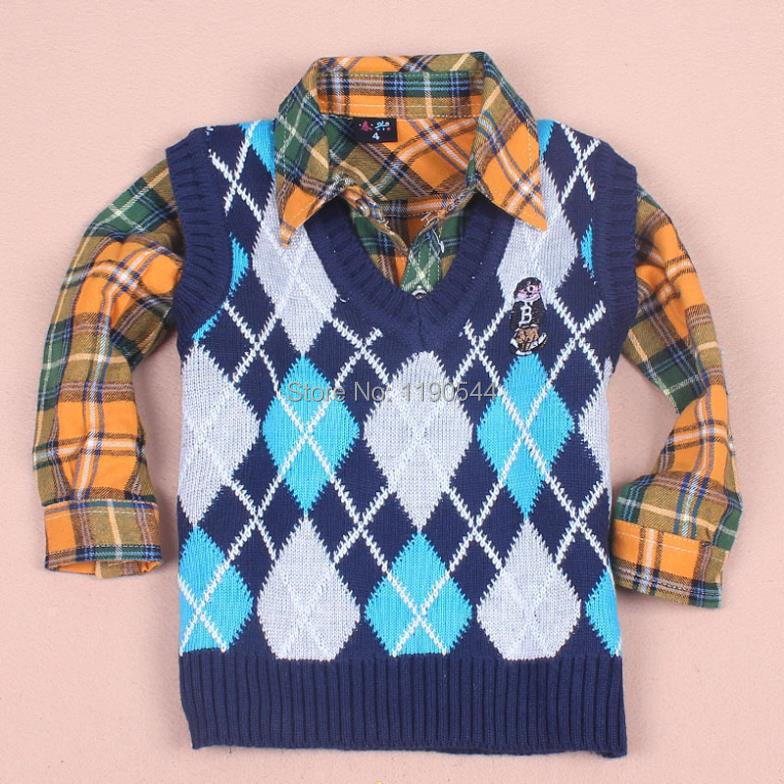 Free shipping 2014 A++ Korean version of the diamond lattice baby bear sweater vest in paragraph 3 Boys Kids classic plaid color(China (Mainland))