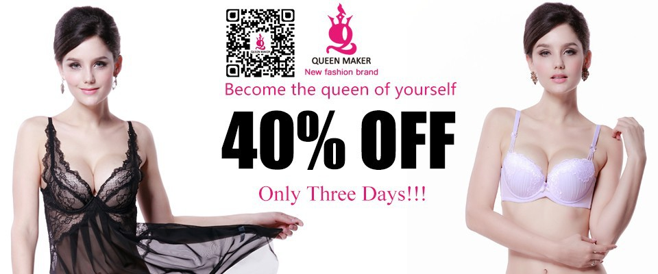 QueenMaker 2015 Fashion Women New Women Sexy brassiere Push Up Bra Ladies Underwear Full Cup Minimizer Lace Sheer Bra WB009