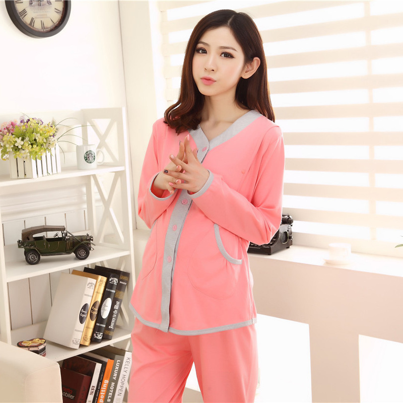 Cute Pink long sleeve cotton blend maternity V- neck Pregnant women pajama sets comfortable Breast-feeding homewear 677(China (Mainland))